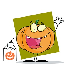 Character halloween happy pumkin bag vector image vector image