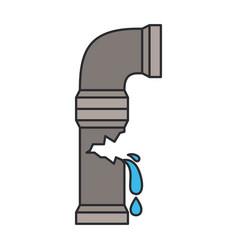 Color image of water pipe broken vector
