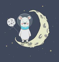 Cute polar bear on crescent moon vector