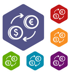 Euro dollar euro exchange icons set vector