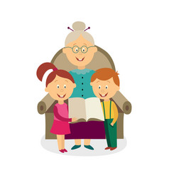 flat grandmother with kids reading book vector image