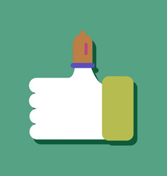 Flat icon design condom on finger in sticker style vector