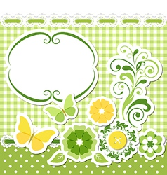 Floral scrapbook green set vector image vector image