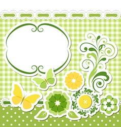 Floral scrapbook green set vector image