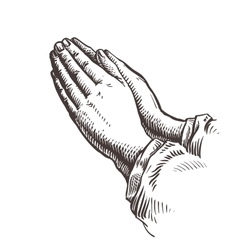 Hands folded in prayer sketch vector