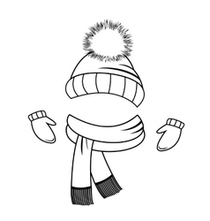 Hat scarf and mittens Coloring book vector image vector image