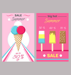 hot summer posters set with ice cream vector image vector image