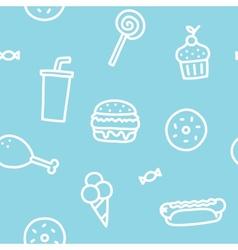 Junk food blue seamless pattern vector