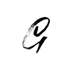 Letter g handwritten by dry brush rough strokes vector