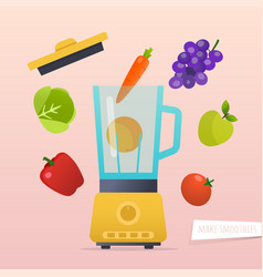 make a smoothie different ingredients for vector image vector image