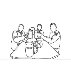 men drinking beer vector image