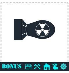 Nuclear bomb icon flat vector image vector image
