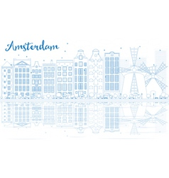Outline amsterdam skyline with blue buildings vector
