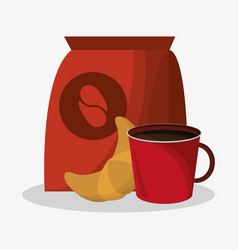Packaking of coffee and porcelain cup with vector