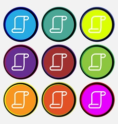 Paper scroll icon sign nine multi-colored round vector