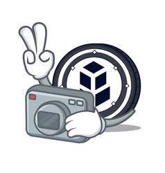 Photographer bancor coin mascot cartoon vector