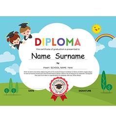 Preschool elementary school kids diploma template vector