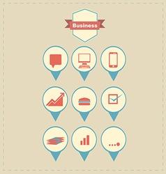 Retro business icons vector