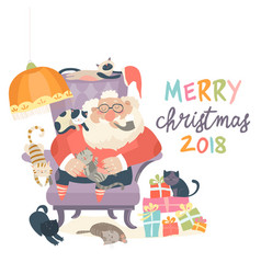 Santa claus sitting in armchair wih cats vector
