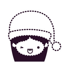 Santa claus woman kawaii face with wink eye and vector