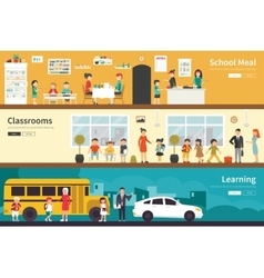 School meal classrooms learning flat interior vector