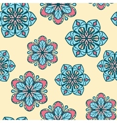 Seamless pattern with stylized flowers on yellow vector image