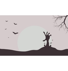 Silhouette of hand zombie and bat vector