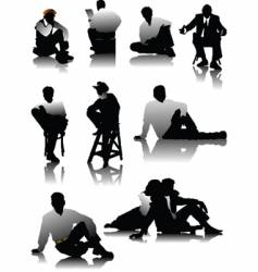 sitting men vector image vector image