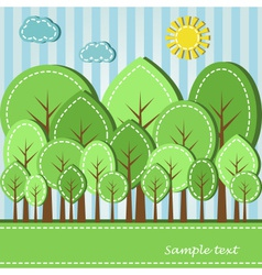 spring or summer colored forest dashed style vector image vector image