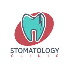 Stomatology clinic logo on oval background vector