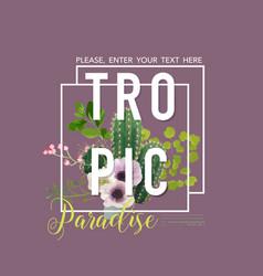 vintage tropical summer cactus design vector image vector image