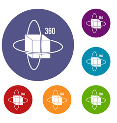 Virtual cube icons set vector