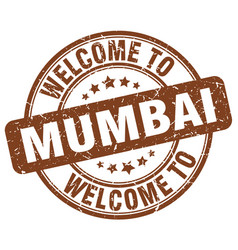 Welcome to mumbai brown round vintage stamp vector