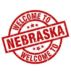 Welcome to nebraska red stamp vector