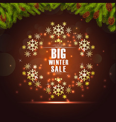Winter sale background banner and christmas tree vector