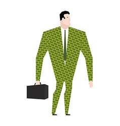 Businessman in suit of dollars money clothing vector