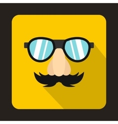 Comedy fake nose mustache eyebrows glasses icon vector