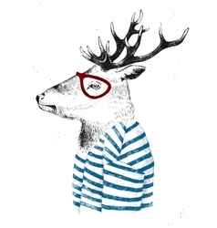 Dressed up deer in hipster style vector
