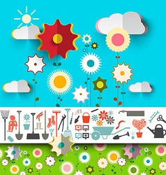 Garden tools icons flowers design on blue sky with vector