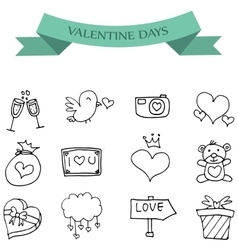 Hand draw icon of valentine day vector