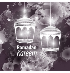 Watercolor black blob ramadan kareem vector