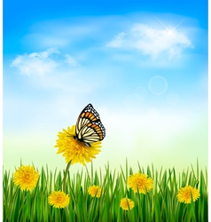 Summer background with dandelions and a butterfly vector