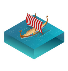 Viking drakkar sailing ship floating on the sea vector