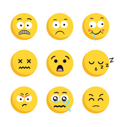set of sad smiling emoticon faces vector image