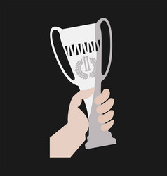 champion winner cup award in hand flat icon vector image