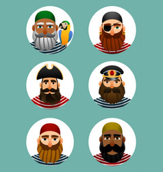 Pirates avatars collection set of portraits of vector
