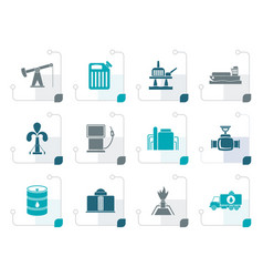 Stylized oil and petrol industry icons vector