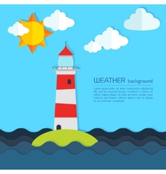 Modern weather background with lighthouse sun and vector