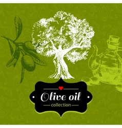 Vintage olive background with hand drawn sketch vector