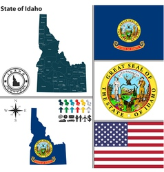 Map of idaho with seal vector